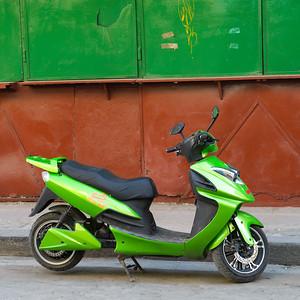 Moped parked on the road, Havana, Cuba