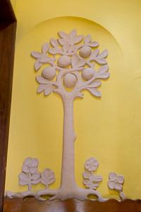 Mural of a Tree carving on a wall, Belmond Casa de Sierra Nevada hotel, San Miguel de Allende, Guanajuato, Mexico
