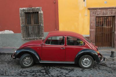 Red car on a street, Zona Centro, San Miguel de Allende, Guanajuato, Mexico