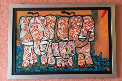 Painting of elephants on a wall, San Miguel de Allende, Guanajuato, Mexico