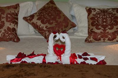 Towels shaped like swans in a hotel suite, Zona Centro, San Miguel de Allende, Guanajuato, Mexico
