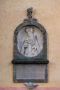 Statue carving on wall at church, Zona Centro, San Miguel de Allende, Guanajuato, Mexico