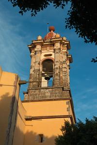 Low angle view of bell tower in church, Zona Centro, San Miguel de Allende, Guanajuato, Mexico