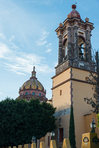 Low angle view of a bell tower at church, Zona Centro, San Miguel de Allende, Guanajuato, Mexico