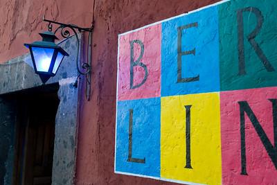 Signage painted on a wall, Zona Centro, San Miguel de Allende, Guanajuato, Mexico