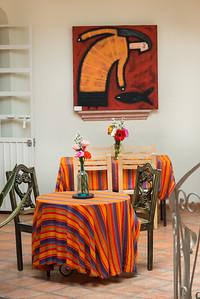Interior showing tables in a cafe, Zona Centro, San Miguel de Allende, Guanajuato, Mexico
