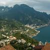 Elevated view of a town at coast, Ravello, Amalfi Coast, Salerno, Campania, Italy