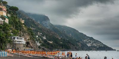 Tourists on beach, Positano, Amalfi Coast, Salerno, Campania, Italy