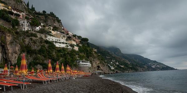 View of a beach, Positano, Amalfi Coast, Salerno, Campania, Italy