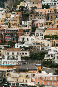 Residential buildings on hill, Positano, Amalfi Coast, Salerno, Campania, Italy