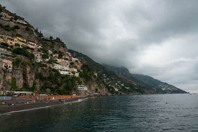 View of a town at coast, Positano, Amalfi Coast, Salerno, Campania, Italy