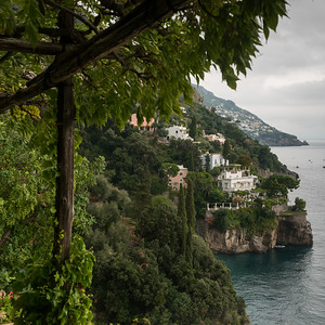 View of town at coast, Positano, Amalfi Coast, Salerno, Campania, Italy