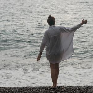 Woman enjoying the beach, Positano, Amalfi Coast, Salerno, Campania, Italy