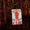 Dry red chili peppers hanging with price tag at market stall, Amalfi, Amalfi Coast, Salerno, Campania, Italy