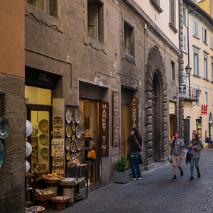 People shopping on street, Orvieto, Terni Province, Umbria, Italy
