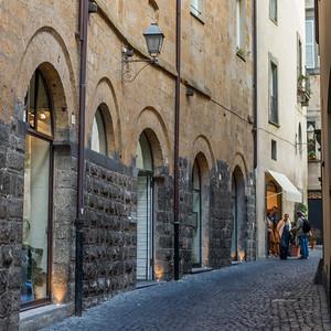 Buildings along a narrow cobblestone street, Orvieto, Terni Province, Umbria, Italy
