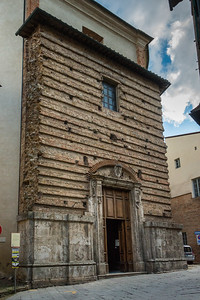 Facade of an old building, Montepulciano, Siena, Tuscany, Italy