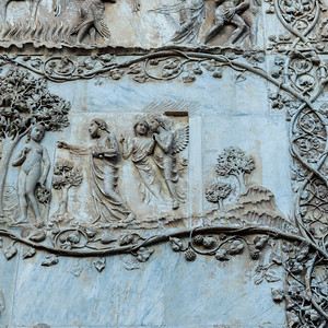Bas relief detail on wall, Orvieto Cathedral, Orvieto, Terni Province, Umbria, Italy