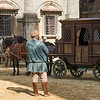 Man with horse carts on street, Montepulciano, Siena, Tuscany, Italy