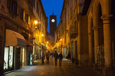 People on street at night, Piazza Della Repubblica, Orvieto, Terni Province, Umbria, Italy