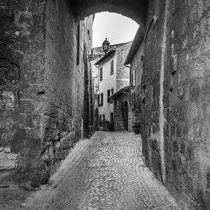 View of a cobblestone alley, Orvieto, Terni Province, Umbria, Italy