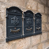 Mail boxes mounted on wall, Orvieto, Terni Province, Umbria, Italy