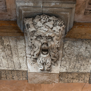 Bas relief sculpture on wall, Orvieto, Terni Province, Umbria, Italy