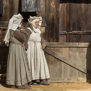 Nuns on street, Piazza Grande, Montepulciano, Siena, Tuscany, Italy