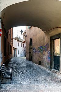 View of buildings along narrow street, Via Garibaldi, Orvieto, Terni Province, Umbria, Italy