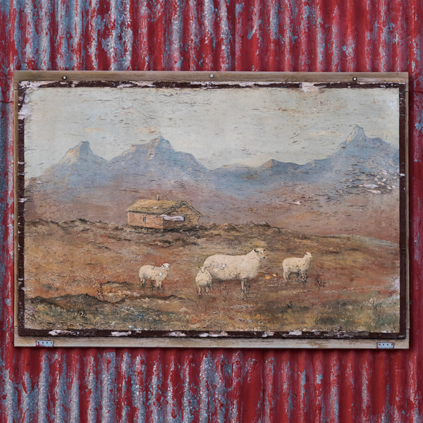 Picture frame of sheep on corrugated iron wall, Lofoten, Nordland, Norway