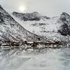 Reflection of mountains in water, Lofoten, Nordland, Norway