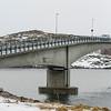 Bridge across sea, Engoysundet Bru, Henningsvaer, Austvagoy, Lofoten, Nordland, Norway