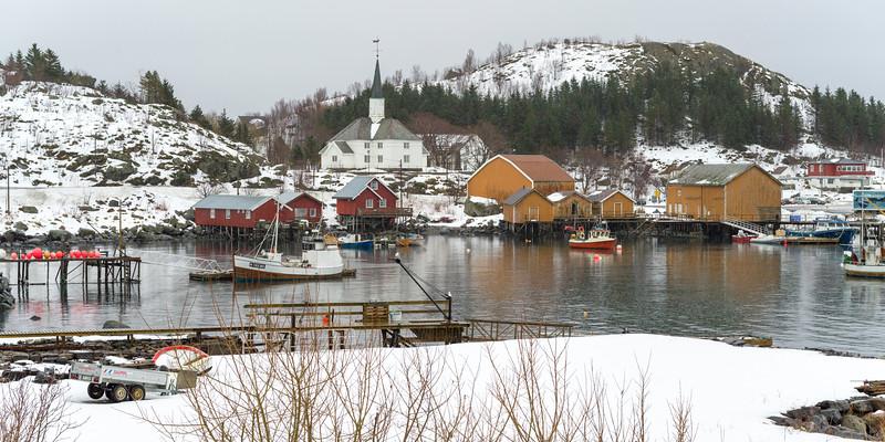 Stilt houses at waterfront, Lofoten, Nordland, Norway
