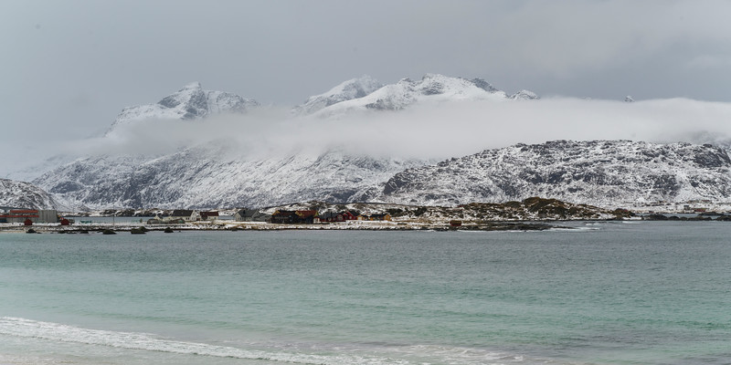 Sea with mountain range in the background, Lofoten, Nordland, Norway