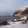 Snow covered rocks at seaside, Lofoten, Nordland, Norway