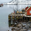 Stilt huts at waterfront, Lofoten, Nordland, Norway