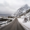 Road passing through snow covered mountain, Lofoten, Nordland, Norway