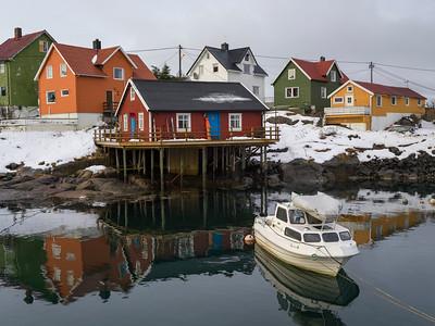 View of fishing village at seaside, Henningsvaer, Austvagoy, Lofoten, Nordland, Norway