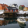 View of fishing village at seaside, Henningsvaer, Austvagoy, Lofoten, Nordland, Norway
