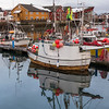 Fishing boats at harbor, Svolvaer, Lofoten, Nordland, Norway