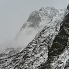 Fog over snow covered mountain, Lofoten, Nordland, Norway