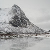 Snow covered mountain at seaside, Lofoten, Nordland, Norway