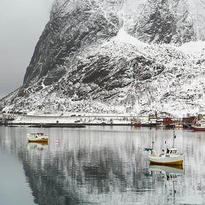 Fishing boats in the sea, Lofoten, Nordland, Norway