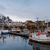 Fishing boats at harbor, Lofoten, Nordland, Norway