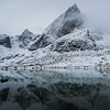 Reflection of mountain in water, Lofoten, Nordland, Norway