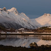 Sunlight falling over mountain at seaside, Lofoten, Nordland, Norway