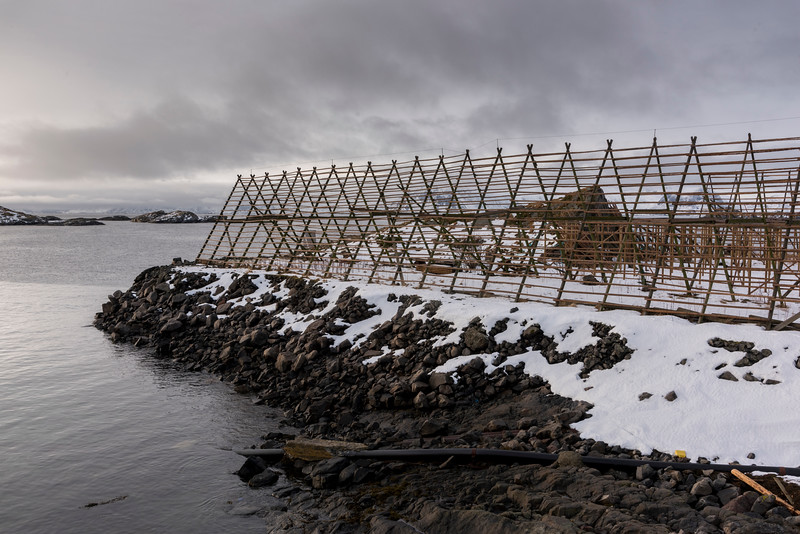 Empty cod drying structure at seaside, Lofoten, Nordland, Norway