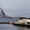 Buildings at waterfront, Henningsvaer, Austvagoy, Lofoten, Nordland, Norway