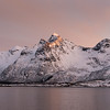 View of mountain range against sky during sunset, Lofoten, Nordland, Norway