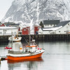 Fishing boats along harbor Lofoten, Nordland, Norway